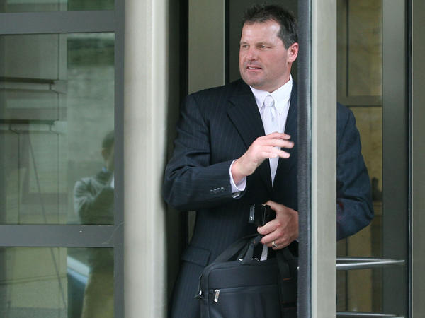Former all-star baseball pitcher Roger Clemens leaves the U.S. District Court on Monday after the first day of his perjury and obstruction trial in Washington, D.C.