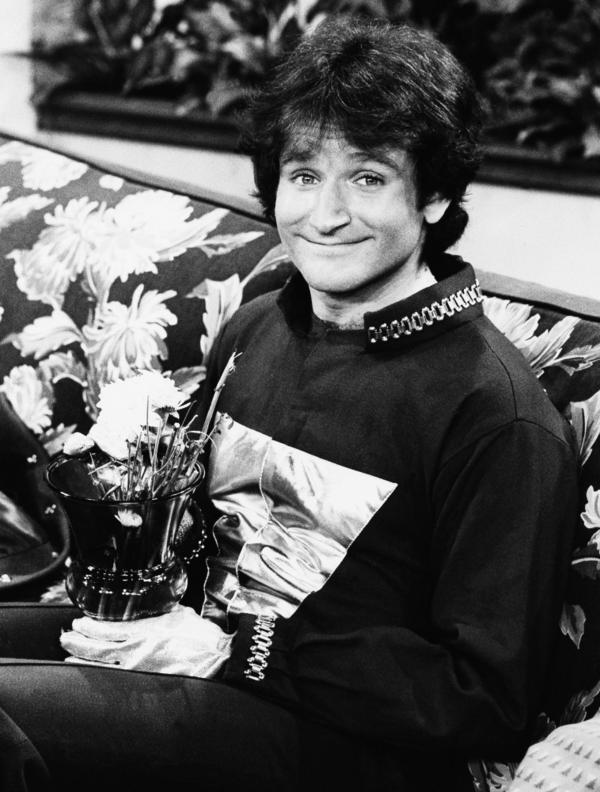 Actor Robin Williams on the set of ABC's <em>Mork and Mindy</em>, April, 1978.