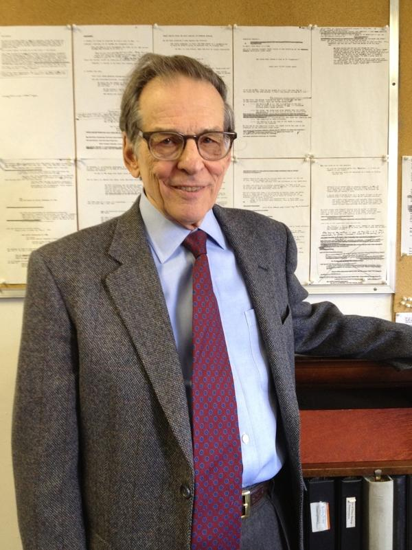Robert Caro is the recipient of two Pulitzer Prizes in biography, a National Book Award and two National Book Critics Circle awards, among other honors. He stands in front of the outline of his next book.