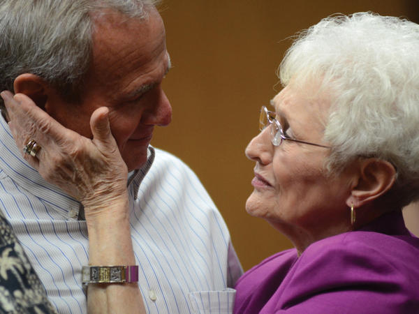 Michael Morton and his mother, Patricia Morton, in October after a judge announced him free on bond after nearly 25 years in prison for a wrongful conviction.