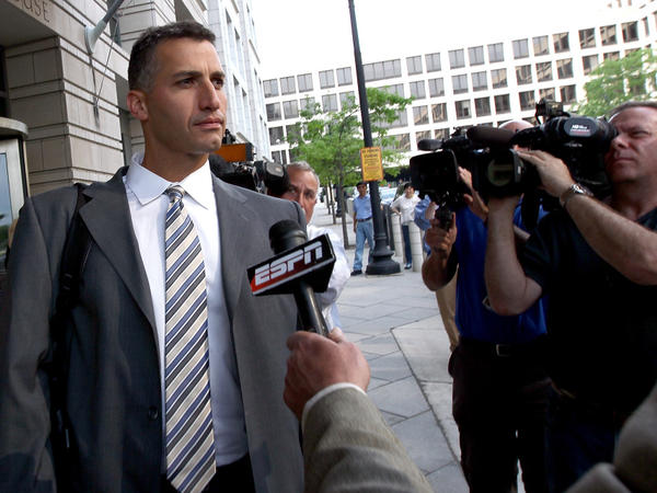 Andy Pettitte leaves the courthouse after testifying Wednesday in the perjury and obstruction trial of former teammate Roger Clemens in Washington, D.C.
