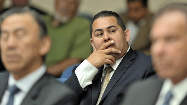 Fullerton police officer Manuel Ramos at the preliminary hearing in the death of Kelly Thomas, a mentally ill homeless man. Ramos and fellow officer Jay Cicinelli will stand trial for Thomas' death.