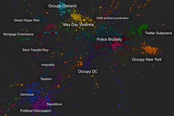 "<a href=""http://quid.com/"">Quid</a>'s algorithm mapping software allows users to visualize the proliferation of ideas on the Internet. This representation of articles written about the Occupy Wall Street movement uses colors to group ideas together and lines to show a connection between articles."