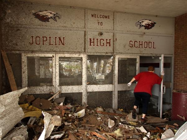 The main entrance of Joplin High School was severely damaged in a May 2011 tornado.