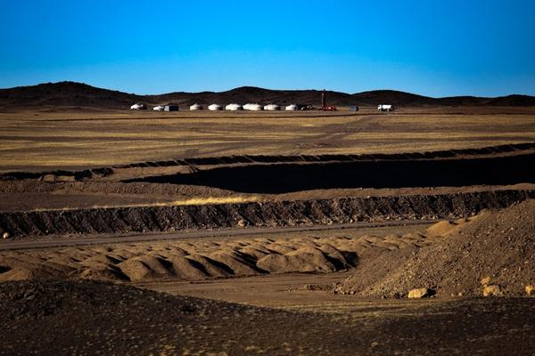 Bat-Erdene's son, Uuganbaatar Badam, works at a coal mine in South Gobi. He lives in one of these <i>gers</i> near the open-pit mine and makes about $500 a month.