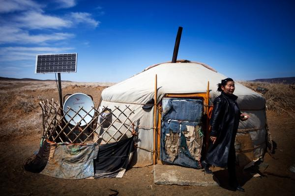 Most Mongolians live in <i>gers</i>, traditional housing that can be taken down and reassembled in under an hour. Many have solar panels and satellite dishes.