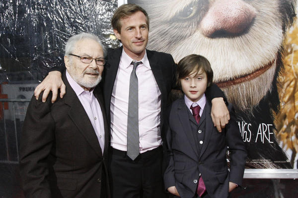 Sendak (from left), film director Spike Jonze and actor Max Records pose at the New York premiere of the film <i> Where The Wild Things Are</i> in 2009.