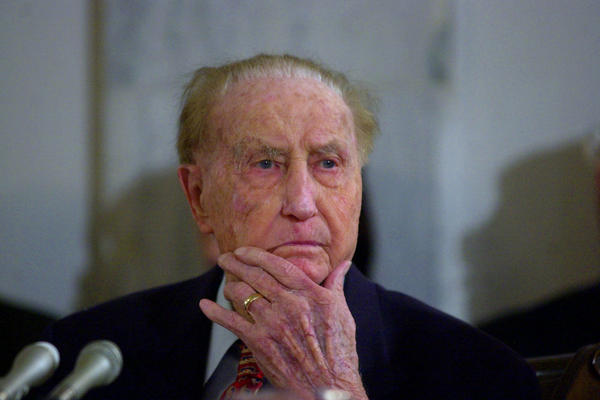 Sen. Strom Thurmond, R-S.C., attends a Senate Veterans Affairs Committee hearing in 2001, when he was 98. He died in 2003 at age 100.
