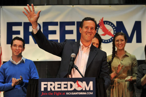 Rick Santorum arrives to deliver an address in Gettysburg, Pa. Santorum trailed rival Mitt Romney in the Illinois primary Tuesday night.