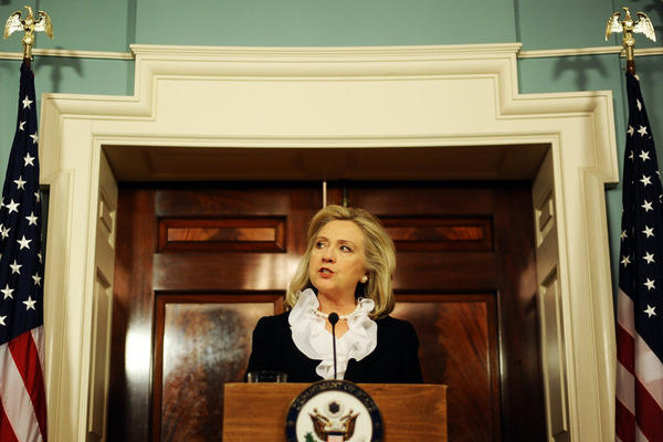 Secretary of State Hillary Clinton discusses U.S. sanctions against Syria on Aug. 18.