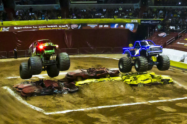 One of the Grave Digger's most visible trademarks is the red headlights that glow menacingly whenever the truck is in side-by-side racing competition. The first truck to cross the finish line moves onto the next round until it is eliminated or triumphs over the competition.