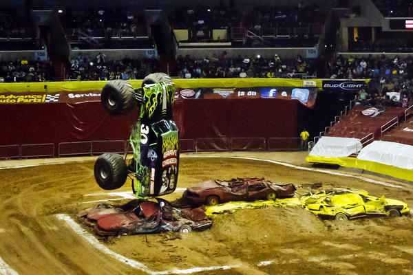 "Grave Digger driver Rod Schmidt stuns audiences inside Washington's Verizon Center, as he takes his monster truck vertical towards the end of the show. Today, the Grave Digger is traditionally the last truck to freestyle and is featured in the ""grand finale"" which caps off the show."