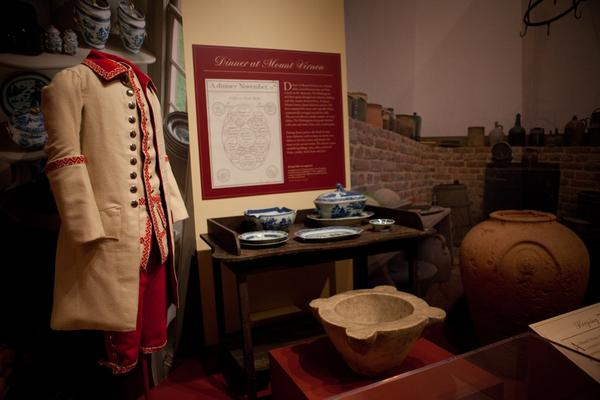 One of the uniforms made from fine wool, known as a livery, worn by the male slaves, along with a variety of kitchenware found in the home of George and Martha Washington as a new exhibition at Mount Vernon.
