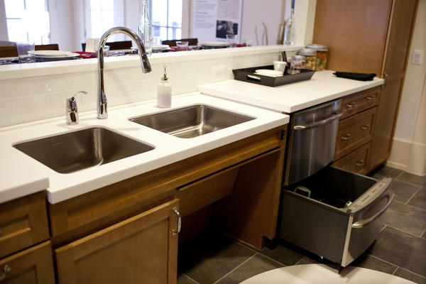 Innovations around the home are designed to accommodate all types of injuries, from limb amputation to post-traumatic stress disorder. In the kitchen, adjustable-height counters and open space below the sink allow for warriors in wheelchairs to maneuver with ease.