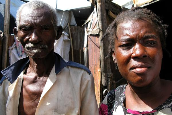 Feezame Jeunese, 34, got cholera in November. Just as she was recovering, her father (left) fell ill with it.