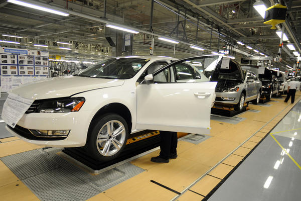 In 2011, the Volkswagen brand sold 324,402 vehicles in the U.S. Its best-selling car, the Jetta, made up 55 percent of those. But the Passat, seen above in the company's new plant in Chattanooga, Tenn., also made strides after a redesign and a popular Super Bowl commercial last year.
