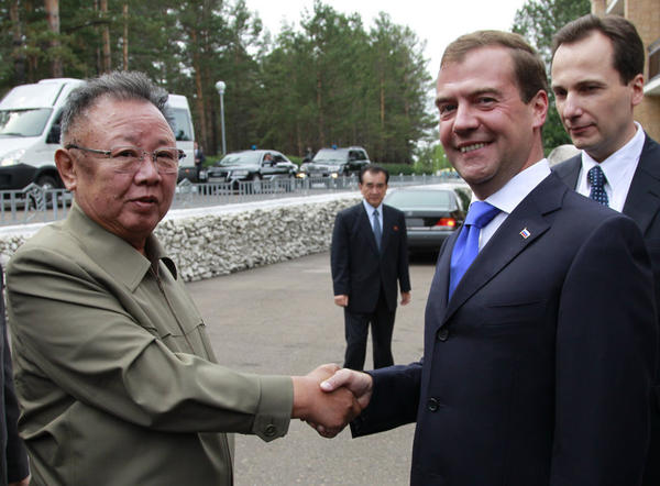 Aug. 24, 2011: Russian President Dmitry Medvedev (right) welcomes North Korea's leader Kim Jong Il during their meeting in Siberia.