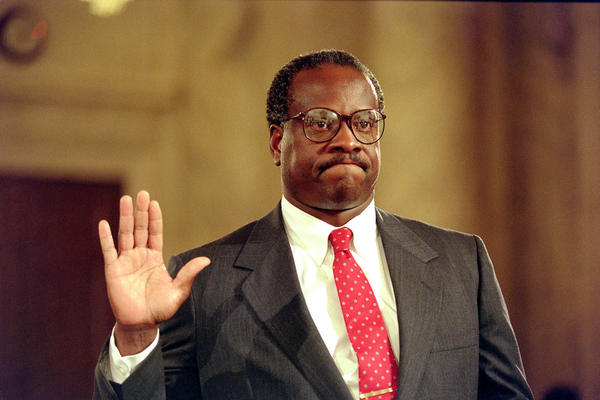 Supreme Court nominee Clarence Thomas is sworn in on Sept. 10 1991, for his confirmation hearings before the Senate Judiciary Committee, in Washington D.C.
