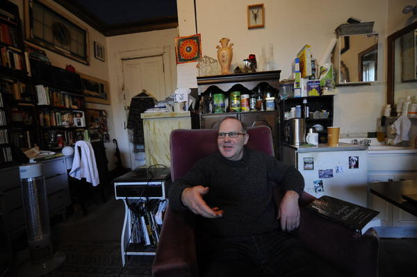 """Ed Hamilton has lived at the Chelsea for 16 years. """"I came here to be a writer, 'cause it seemed like the place to go,"""" he says."""
