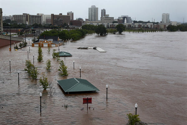 Downtown New Brunswick, N.J., was flooded by the Raritan River on Sunday.