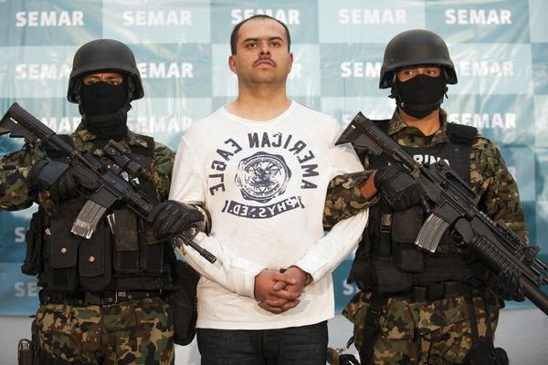 <b>Captured Feb. 27, 2011: </b> Sergio Antonio Mora Cortes, aka El Toto, a suspected senior operator in the Los Zetas gang, is captured by Mexican marines in Saltillo, Coahuila. Cortes, pictured Feb. 28 at the Mexican navy headquarters in Mexico City, was wanted for the murder of a U.S. Immigration and Customs Enforcement agent and a Nuevo Laredo police chief.