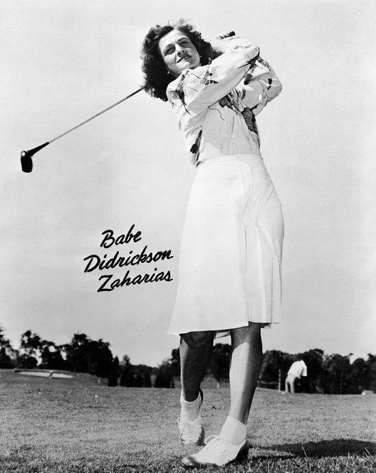 "When asked the secret of her golfing success, she loved to reply, ""I just loosen my girdle and take a whack at it."" She is pictured here in a 1947 promotional photo."