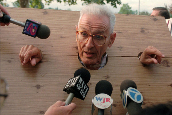 Displaying his flair for the dramatic, Kevorkian met the press wearing stocks he made himself before a court arraignment on assisted suicide charges in Pontiac, Mich., in 1995.