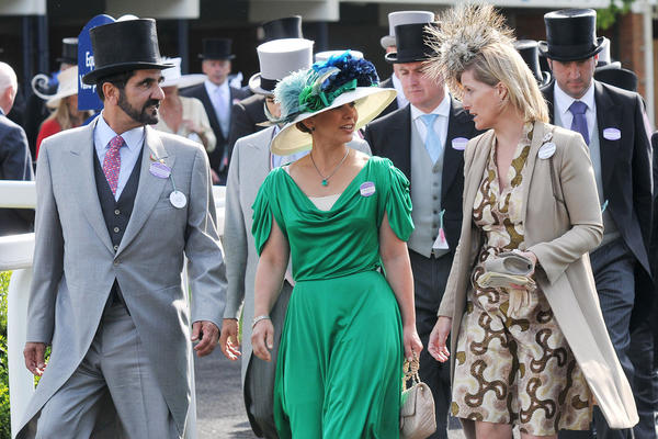 Rooted in British tradition, hats are worn by royals and nonroyals alike. Here, Prince Mohammed Bin Rashid Al Maktoum and Princess Haya Bin Al Hussein of Dubai attend Royal Ascot Ladies Day with Sophie Countess of Wessex in 2010.