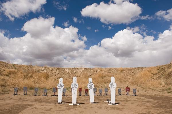 Metal targets stand on a Zoot Shooters course at the Colorado Rifle Club in Byers, Colo.