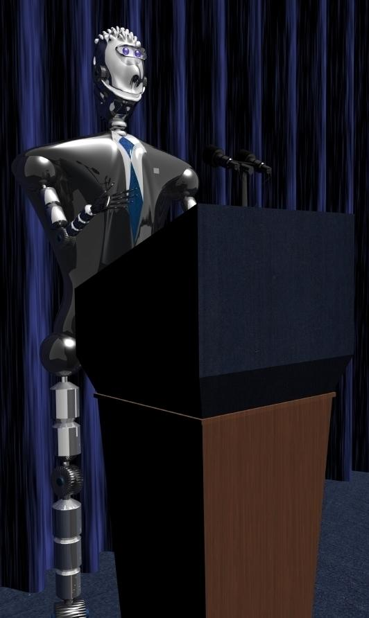 While American politicians may be scripted, they're not this robotic. But whoever wins the presidency this year will preside over a U.S. economy where automation is becoming increasingly important.