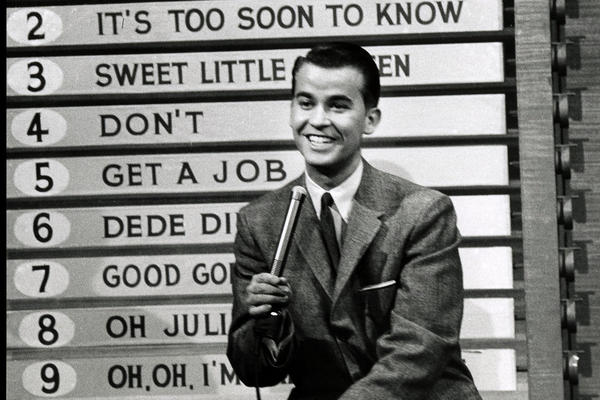 Pop culture icon Dick Clark died Wednesday at age 82. He started his career as a college disc jockey and went on to shape the way America viewed music, TV game shows and New Year's Eve. Here, he hosts <i>American Bandstand</i> in 1958.