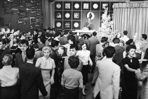 Dancing teens flock to Clark's <i>American Bandstand</i> after he took it national from Philadelphia's WFIL-TV in 1957.