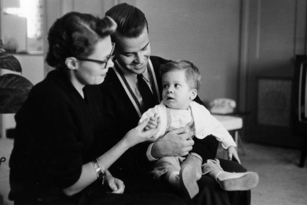 Clark and his first wife, Barbara, get a hand from the newest member of the <i>Bandstand</i> family, Richard Clark Jr., in 1958.