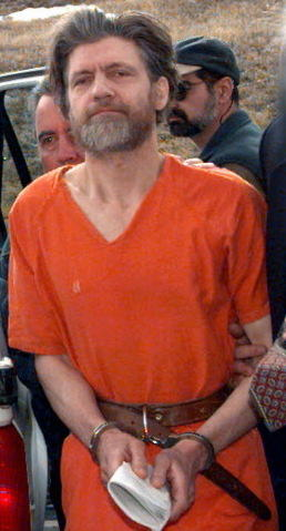 Unabomber Ted Kaczynski being led into a Montana court in 1996.