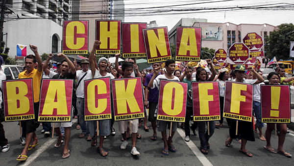 For the past two months, the Philippines and China have been locked in a standoff over territory in the South China Sea that both countries claim.The Philippine navy accused Chinese boats of fishing illegally in the area. Protesters in the Philippines are shown here marching in Manila earlier this month.