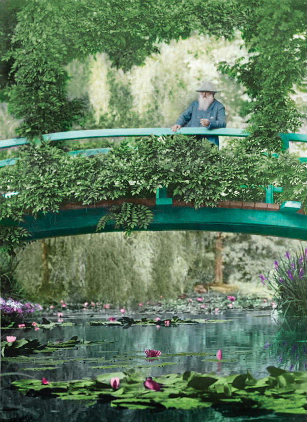 <p>This 1922 colorized photograph shows Monet on the original Japanese footbridge in Giverny.</p><p></p>
