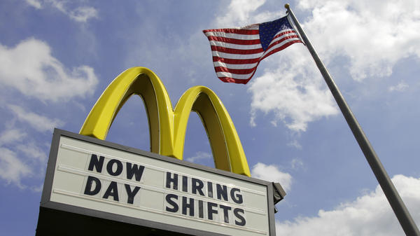 A sign outside a McDonald's restaurant in Chesterland, Ohio, advertises job openings earlier this month.