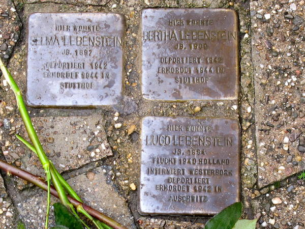 """The names of Jeffrey Katz's family members are depicted on """"stumbling stones"""" in Lembeck, Germany. His relatives owned a home on the property near the stones, before they were evicted in 1942."""