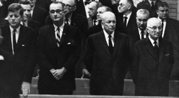 President Kennedy, Vice President Lyndon Johnson and former Presidents Dwight D. Eisenhower and Harry S. Truman attend funeral services for Sam Rayburn in Bonham, Texas on Nov. 18, 1961.