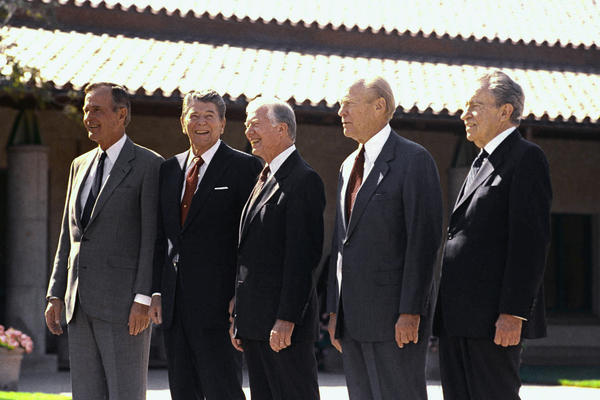 President George H.W. Bush stands with former Presidents Ronald Reagan, Jimmy Carter, Gerald Ford and Richard Nixon before the dedication ceremonies for the Ronald Reagan Presidential Library in Simi Valley, Calif., Nov. 4, 1991.
