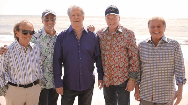 The Beach Boys' new album — the first collaboration in decades between founding members Brian Wilson (third from left) and Mike Love (second from right) — is called <em>That's Why God Made the Radio</em>.