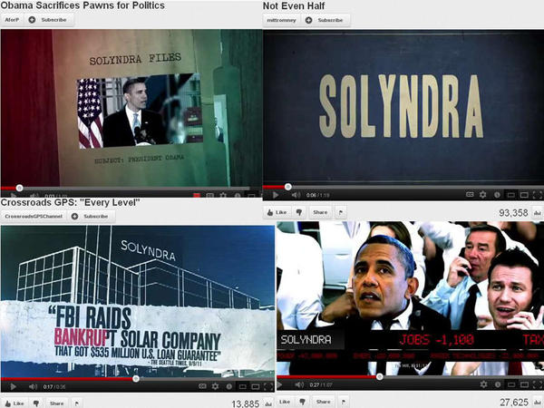 Screen grabs of four separate ads from four different political groups critical of President Obama's handling of Solyndra, the failed solar-panel maker. Clockwise from top left, the ads are from: Americans for Prosperity, MittRomney.com, American Crossroads and Crossroads GPS.