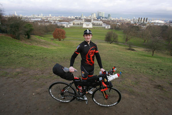 Mike Hall, 30, who hails from North Yorkshire, is one of nine cyclists competing in an epic unassisted race around the globe, beginning the challenge on February 18 from the Greenwich Meridian at the Royal Observatory in south-east London.
