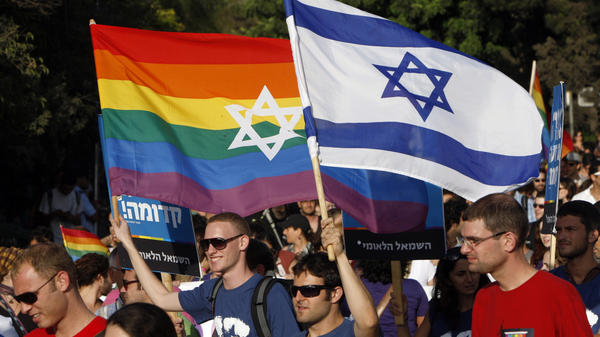 Israel is now marketing itself internationally as welcoming to the gay community. Participants in the annual gay pride parade in Jerusalem are shown here on July 29, 2010.