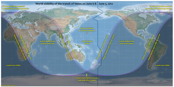 """This map provided by NASA shows the visibility for Tuesday's transit of Venus. <a href=""""http://venustransit.nasa.gov/2012/transit/viewing_locations.php"""">Click here</a> for information on the best viewing times for your location."""