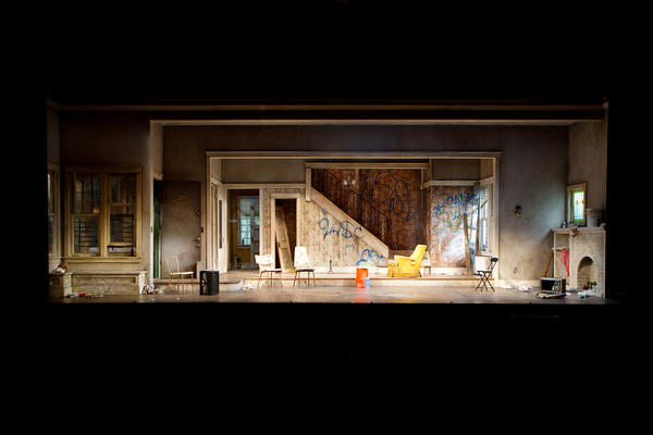 In the second act, the <em>Clybourne Park </em>house has seen substantial wear and tear. The play's story of a neighborhood's decline and rebirth is made tangible in Ostling's design.