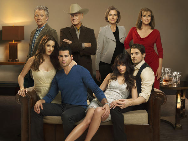 Bobby (Patrick Duffy, top left), J.R. (Larry Hagman, top center left) and the rest of the Ewing family are back, including a new generation, for TNT's reboot of <em>Dallas</em>.