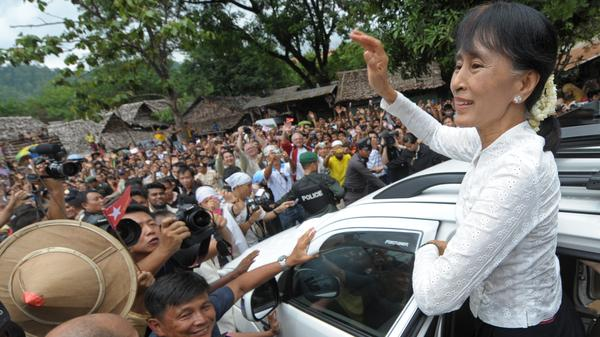Myanmar's Aung San Suu Kyi is heading to Europe for the first time in more than two decades and will be giving a series of high-profile speeches She's shown here on June 2 meeting with Myanmarese refugees who are living in camps in Thailand.