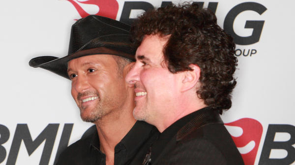 Tim McGraw (left) and Scott Borchetta, CEO of Big Machine Label Group, at a press conference in Nashville last month announcing McGraw's signing to the label.