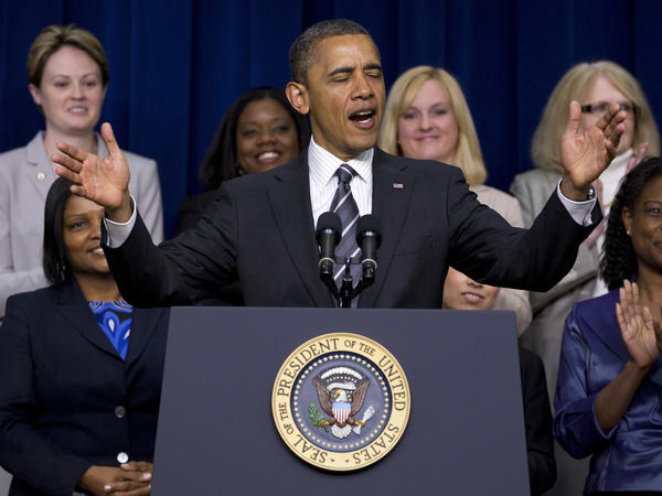 President Obama speaks at a White House forum on women's issues on April 6.